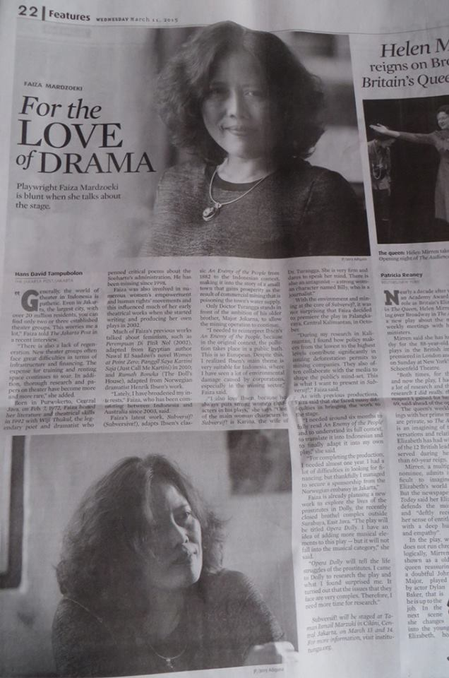 Faiza Mardzoeki- The Jakarta Post - March 2015