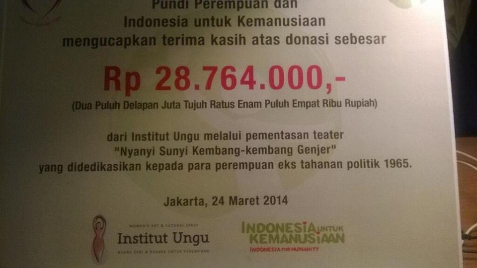 Hasil Donasi Pertunjukan Nyanyi Sunyi Kembang-Kembang Genjer 2014